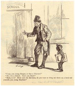 [Man and school boy at entrance of school.]