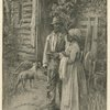 African American man and woman standing in front of log cabin.