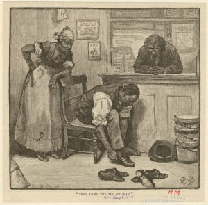 [Man trying on shoes, ca. 1878.]