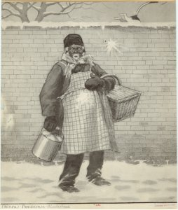 [Elderly man being hit with snowballs, United States, 19th century.]