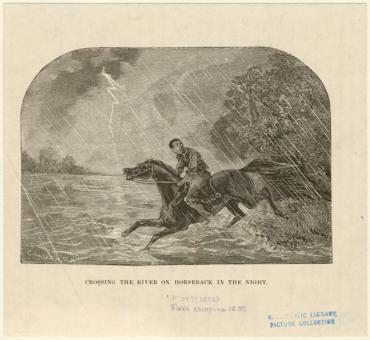 Crossing the river on horseback in the night.