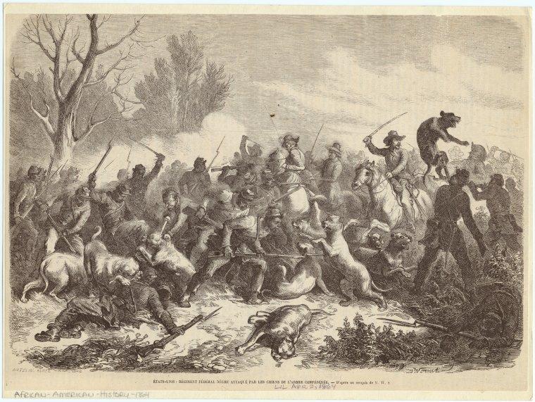 États-Unis : régiment fédéral nègre attaqué par les chiens de l'armee Confédérée.
