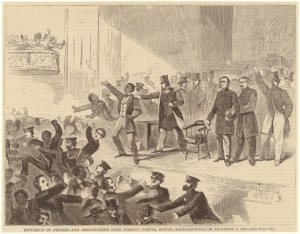 Expulsion of Negroes and abolitionists from Tremont Temple, Boston, Massachusetts, on December 3, 1860.