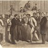 ... event in the history of the National Congress : the Hon. John Willis Menard, colored representative from Louisiana, receiving the congratulations of his friends on the floor of [the] House, Dec. 7th, 1868.