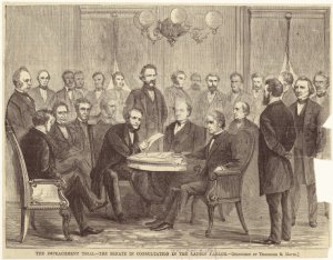 The impeachment trial--the Senate in consultation in the ladies' parlor.