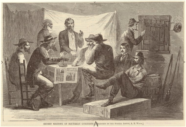 This is What Alfred R. Waud and Secret meeting of Southern Unionists Looked Like  on 8/4/1866