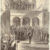Jeff Davis leaving the court-house at Richmond ; Demonstration of the Rebel citizens.