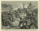 "Starke's brigade fighting with stones near the ""Deep cut""."
