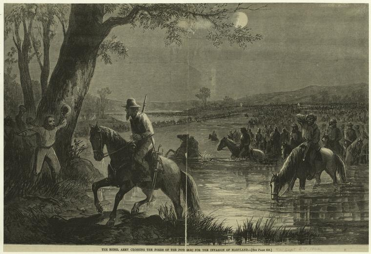 This is What Thomas Nast and The rebel army crossing the fords of the Potomac for the invasion on Maryland Looked Like  on 9/27/1862