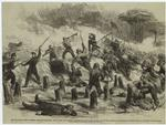 The Civil War in America. - General Burnside's expedition: The 9th New York (Hawkins's Zouaves) and the 21st Massachusetts taking the confederate fieldwork on Roanoke Island at the point of the bayonet.