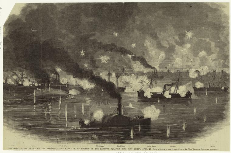 This is What William Waud and The great naval battle on the Mississippi--passage of the 2nd Division of the National squadron past Fort Philip April 24 Looked Like  on 5/24/1862