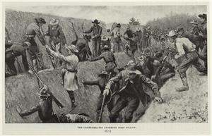 The Confederates storming Fort Pilow.