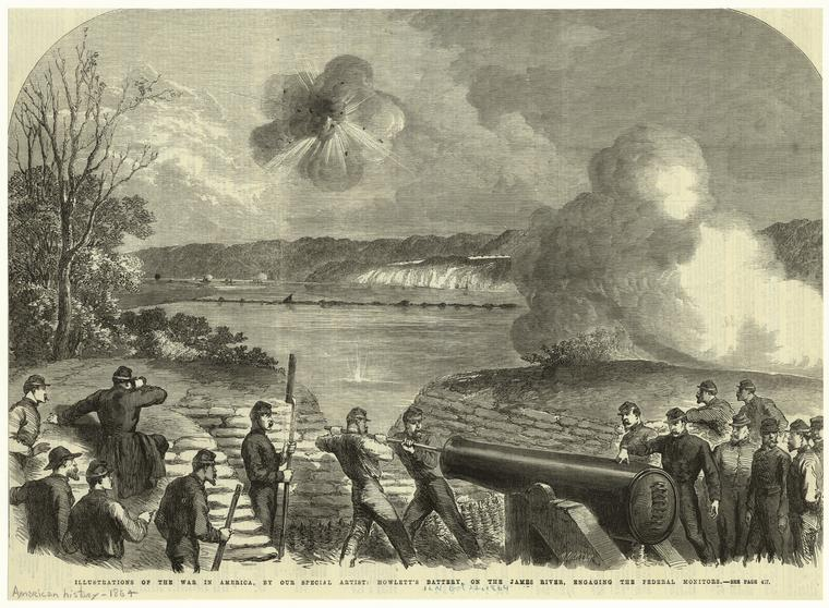 Howlett's battery, on the James River, engaging the Federal monitors.