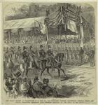 The Grand review at Washington, D.C., May 24th, 1865 -- President Johnson, Lieutenant General Grant and others inspecting Sherman's army -- Sherman saluting at the head of his staff.