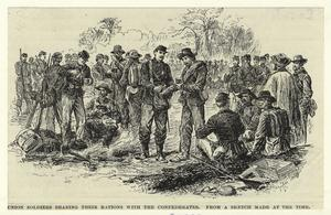Union soldiers sharing their rations with the Confederates.