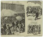 """Metropolitan Police attacking New Orleans citizens at Custom House ; Sharpshooters behind cotton bales ; White citizens tearing off the uniforms of disguised """"Metropolitans."""""""