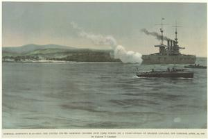 Admiral Sampson's flag-ship, The United States armored cruiser New York, firing on a Coast-Guard Spanish cavalry, off Cabanas, April 29, 1898.