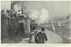 The auxiliary cruiser St. Paul repulsing the Spanish torpedo-boat destroyer Terror off San Juan de Puerto Rico, June 22.