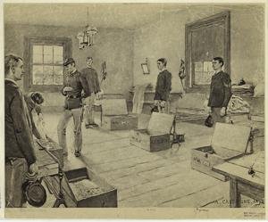 [Military officer inspecting a barrack, United States, 19th century.]
