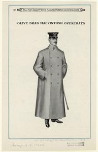Olive drab mackintosh overcoats.