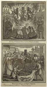 Burning of Bradford, Ridley, Latimer, Philpot and others ; Martyrdom of Hooper and Rogers.