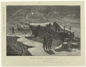 """The crew of the """"Hansa"""" bivouacking on the ice."""