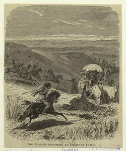 The Apaches attacking an emigrant train.