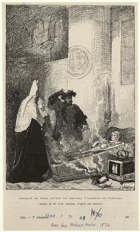 François de Borja devant le cercueil d'Isabelle de Portugal.