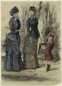 [Women and girl in dresses, France, 1880s.]