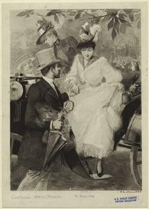 [Man helping woman out of an automobile, France.]