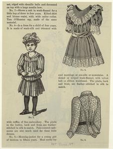 [Boy ; Dress for a child of four years ; Morning-jacket for a girl of thirteen to fifteen years.]
