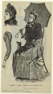 Bonnet ; Sleeve ; Dress for an elderly lady.