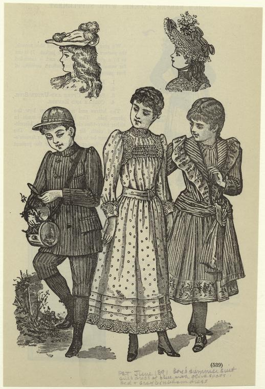Boy's summer suit ; Girl's dress of blue with olive spots ; Red and gray gingham dress.