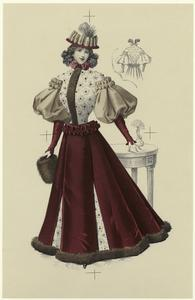 [Maroon, beige, and white dress with floral pattern and fur trim.]