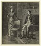[Woman and seated man ind