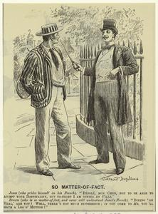 [Men talking outdoors, England, 1890s.]