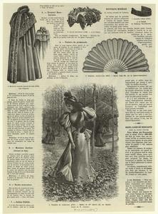 Manteau kaoline (devant et dos) ; Ruche mouseuse ; Collier fidélo ; Eventail beauharnais ; Toilette de promende.