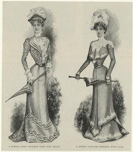 A spring gown trimmed with silk braid ; A spring costume trimmed with lace.