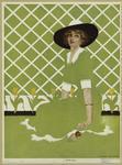Woman in green dress sitting beside tulips, 1910s