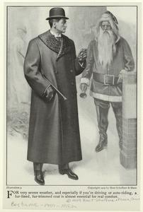 [Man in a fur-trimmed coat with a walking stick, 1901s.]