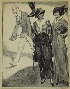 [Women in hats standing as man walks by, 1910s.]