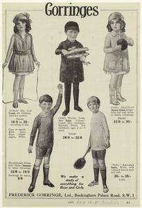 Gorringes : we make a study of everything for boys and girls.