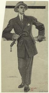 [Man in suit holding a whip, 1910s.]
