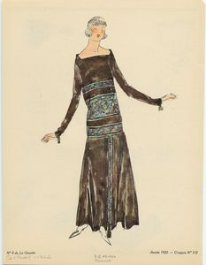 [Long-sleeved black dress with accents, France, ca. 1922.]