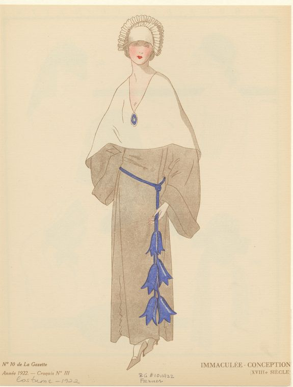 [Dress with blue belt, France, ca. 1922.]