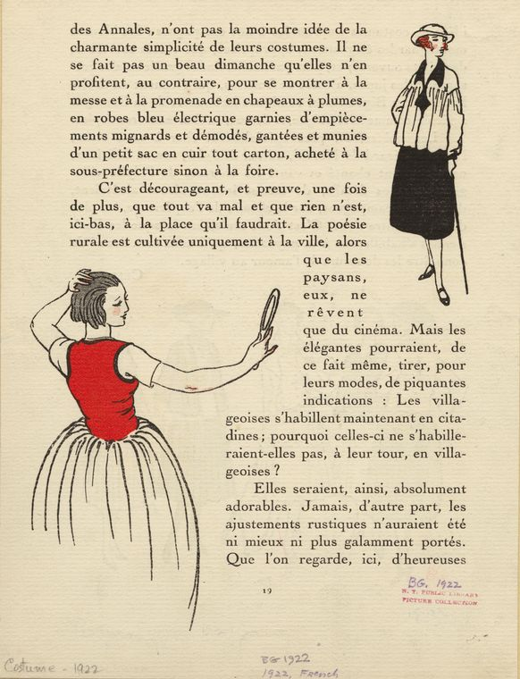 [Woman looking in hand mirror, 1920s ; Woman in white blouse, France, 1920s.]