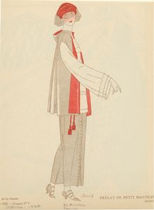 [Gray and red outfit with veil, France, ca. 1922.]