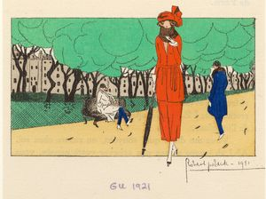 [Woman in red outfit on a stroll, 1920s.]