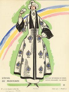 """L'éveil du printemps : manteau réversible en serge, """"motifs grillagés,"""" de Rodier."""