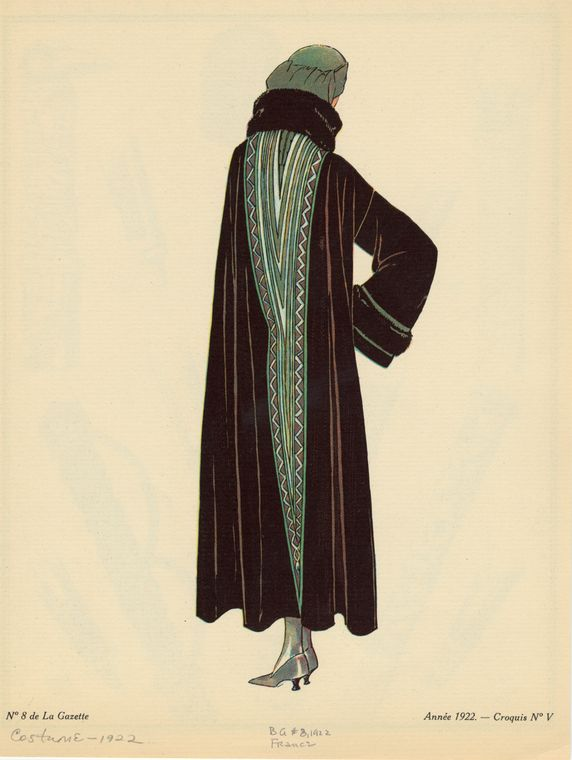 [Dark cloak with green accents, France, ca. 1922.]